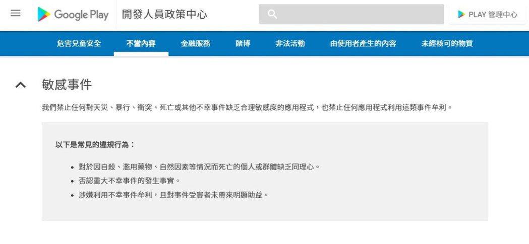 Google Play有關「敏感事件」的開發規定