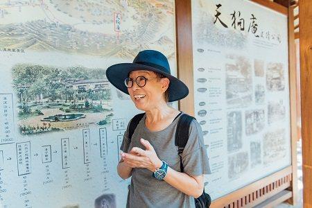 天狗庵遺址旁設有導覽牆,介紹北投在地歷史。 (攝影/留榮鋒)
