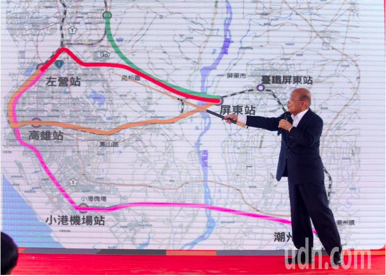 行政院長蘇貞昌上個月10日,南下屏東宣布高鐵南延。記者劉學聖/攝影