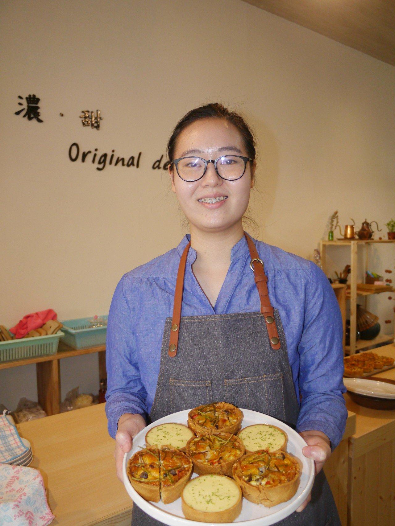 林明靜大學畢業即開店創業,融合美濃在地食材製作法式甜點。記者徐白櫻/攝影