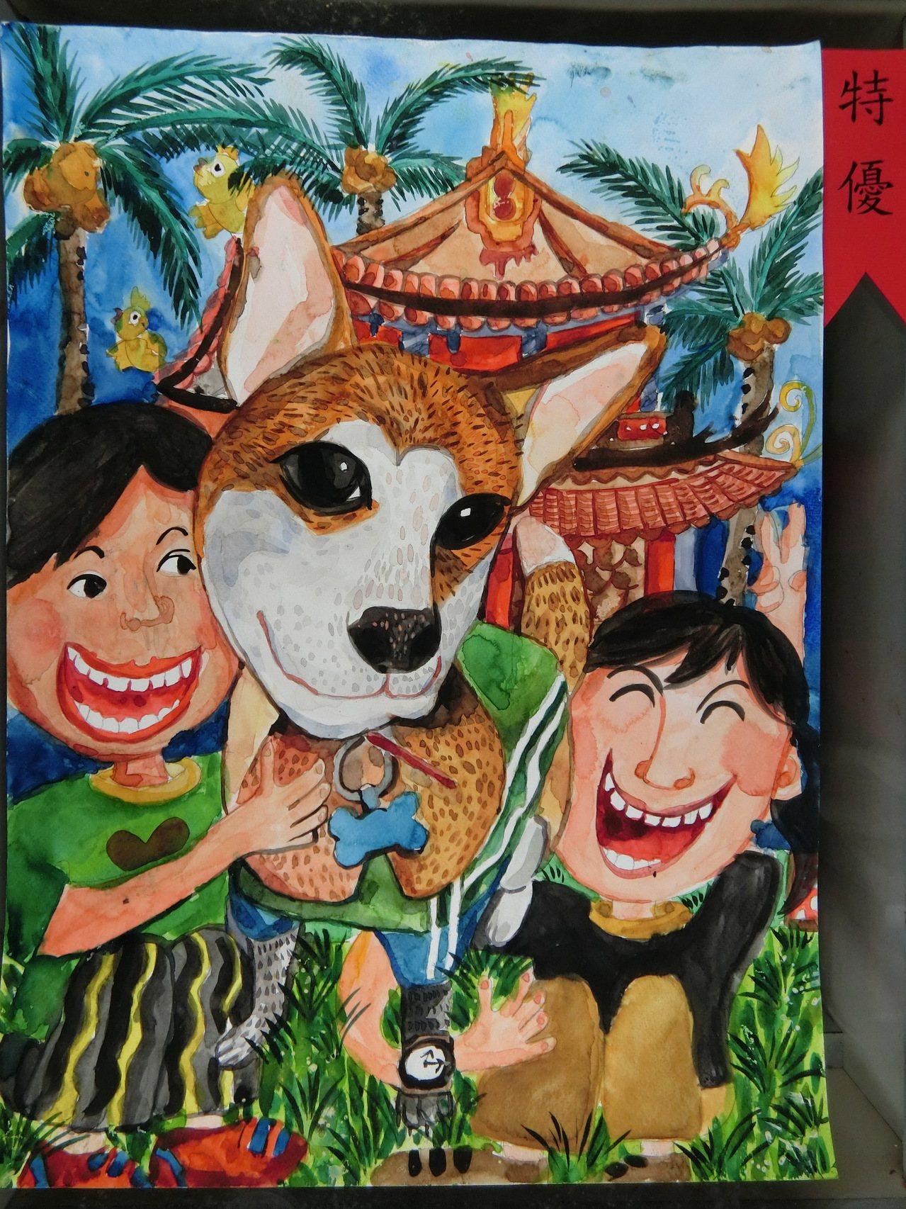 台南市動物防疫保護處舉辦國中小動保繪畫比賽成績出爐,圖為國小高年級組特優文元國小...
