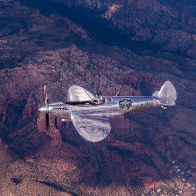 Silver Spitfire銀色噴火戰鬥機原預計9月底停駐台北松山機場。 圖/...