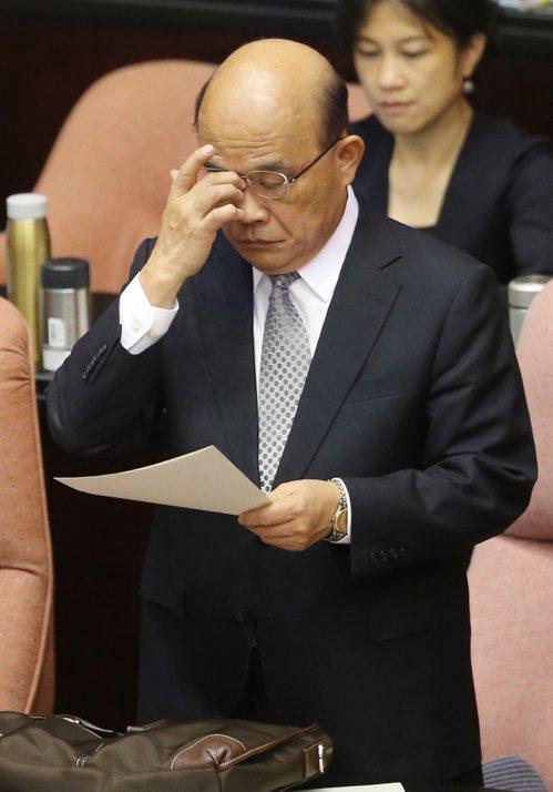 針對外送員意外頻傳,行政院長蘇貞昌(圖)上午到立法院備詢,表示勞委會應對勞動條件...