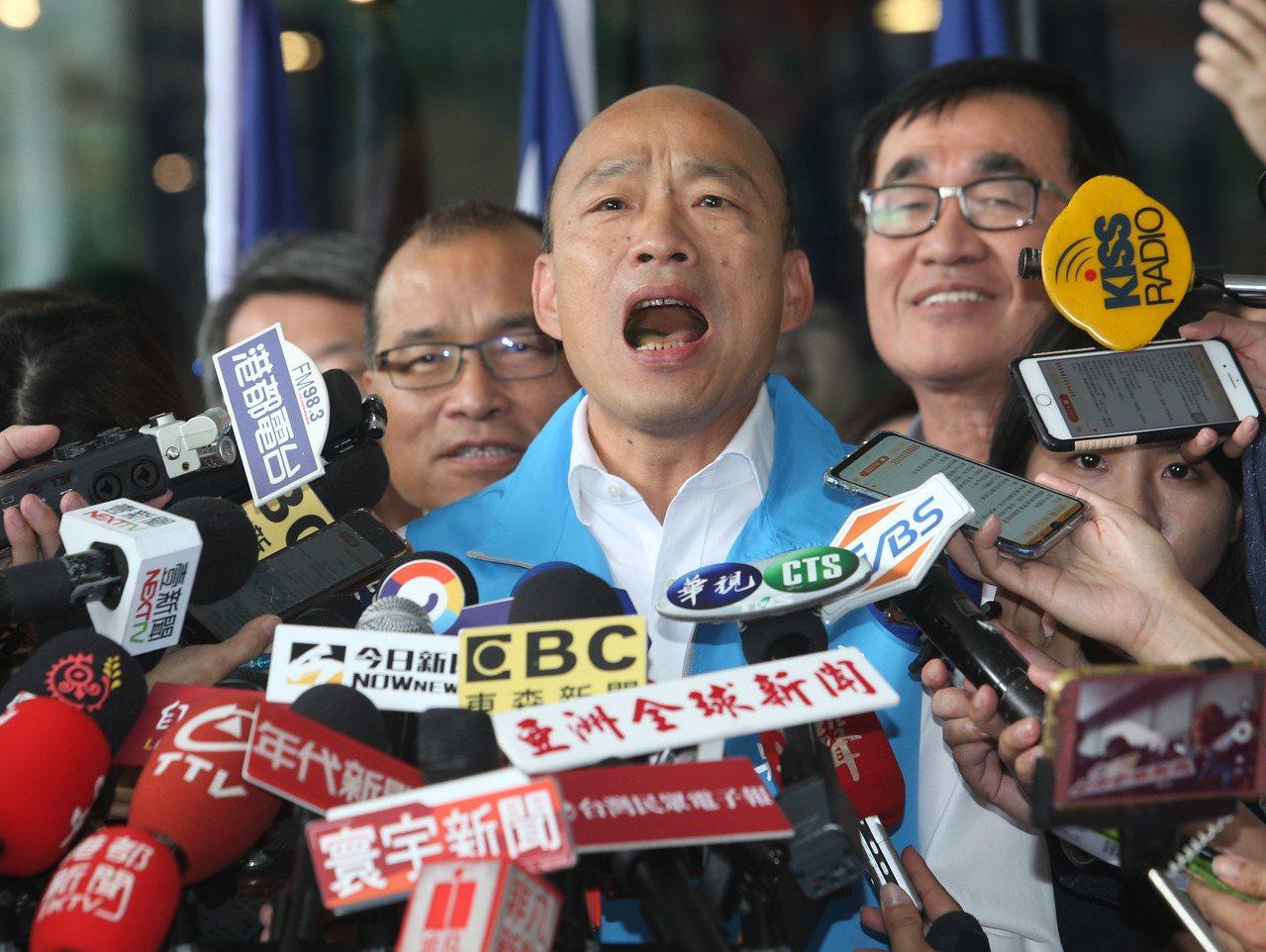 高雄市長韓國瑜上午宣布請假參選總統。記者劉學聖/攝影
