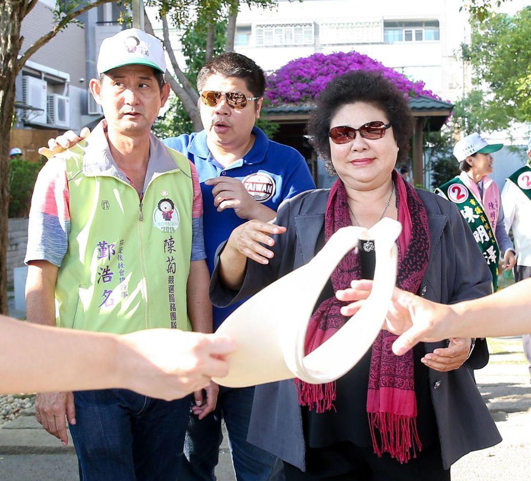 陳菊2014年力拚高雄市長連任,在投票日前15天開始請假。 圖/聯合報系資料照片