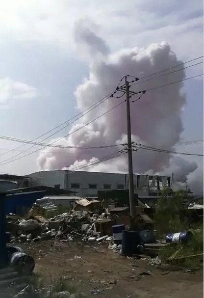 中國廣西省一處工業園區上午11時發生化學爆炸事故,事故已造成4死2重傷4輕傷。圖...