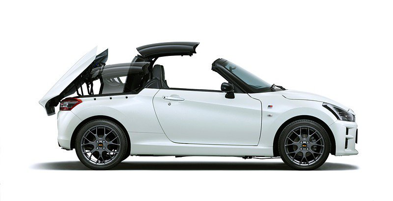 Copen GR Sport具有電動敞篷車頂。 摘自Daihatsu