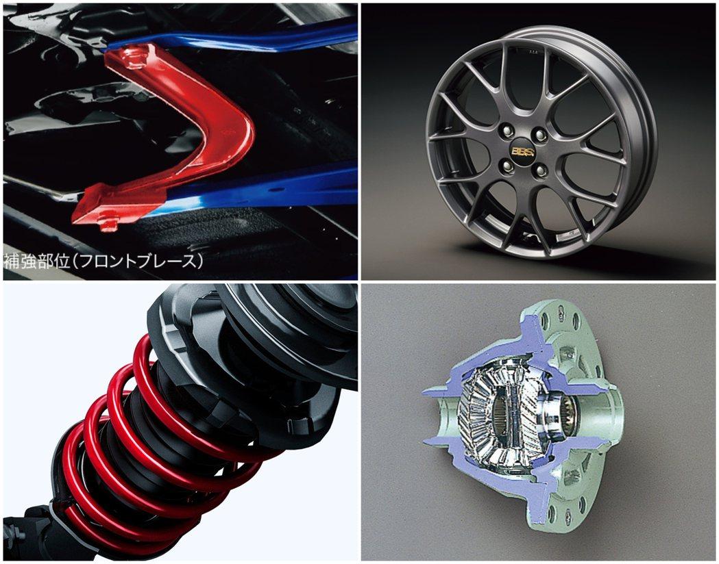 底盤拉桿、BBS鋁圈、特製避震器、前LSD限滑差速器。 摘自Daihatsu