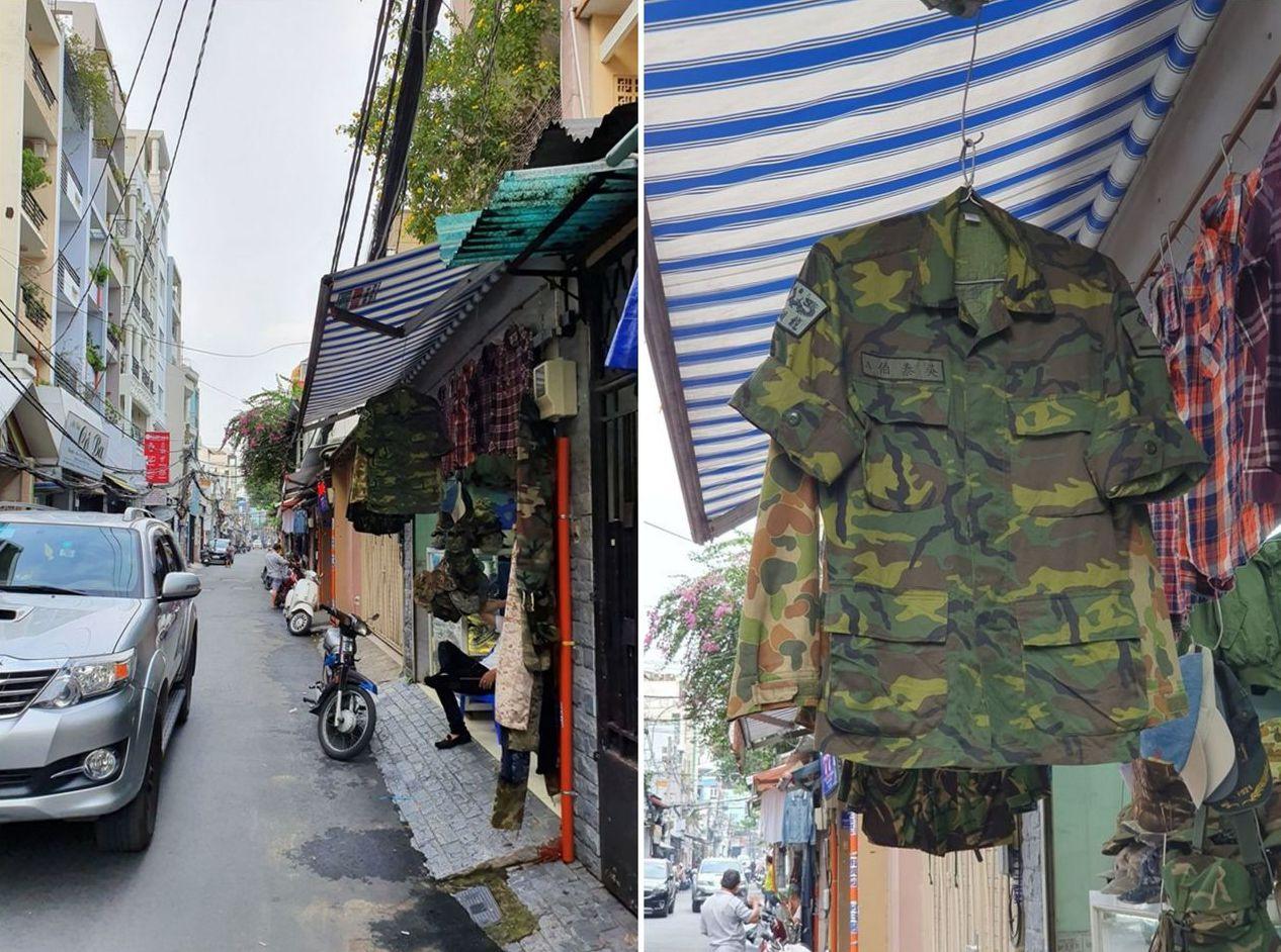 女網友到越南旅行時,竟意外在當地的遮雨棚下發現國軍迷彩裝。圖取自/爆廢公社