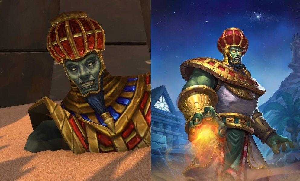 魔獸世界中的月之巨像(左)、爐石副本中的月之巨像(右)