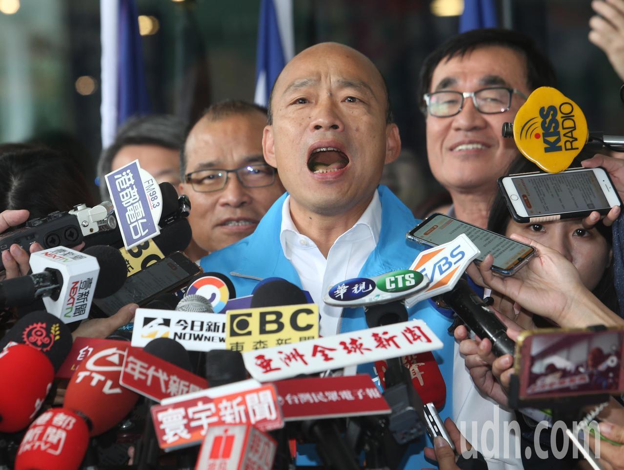 高雄市長韓國瑜今天上午宣布正式請假參選2020總統大選。記者劉學聖/攝影