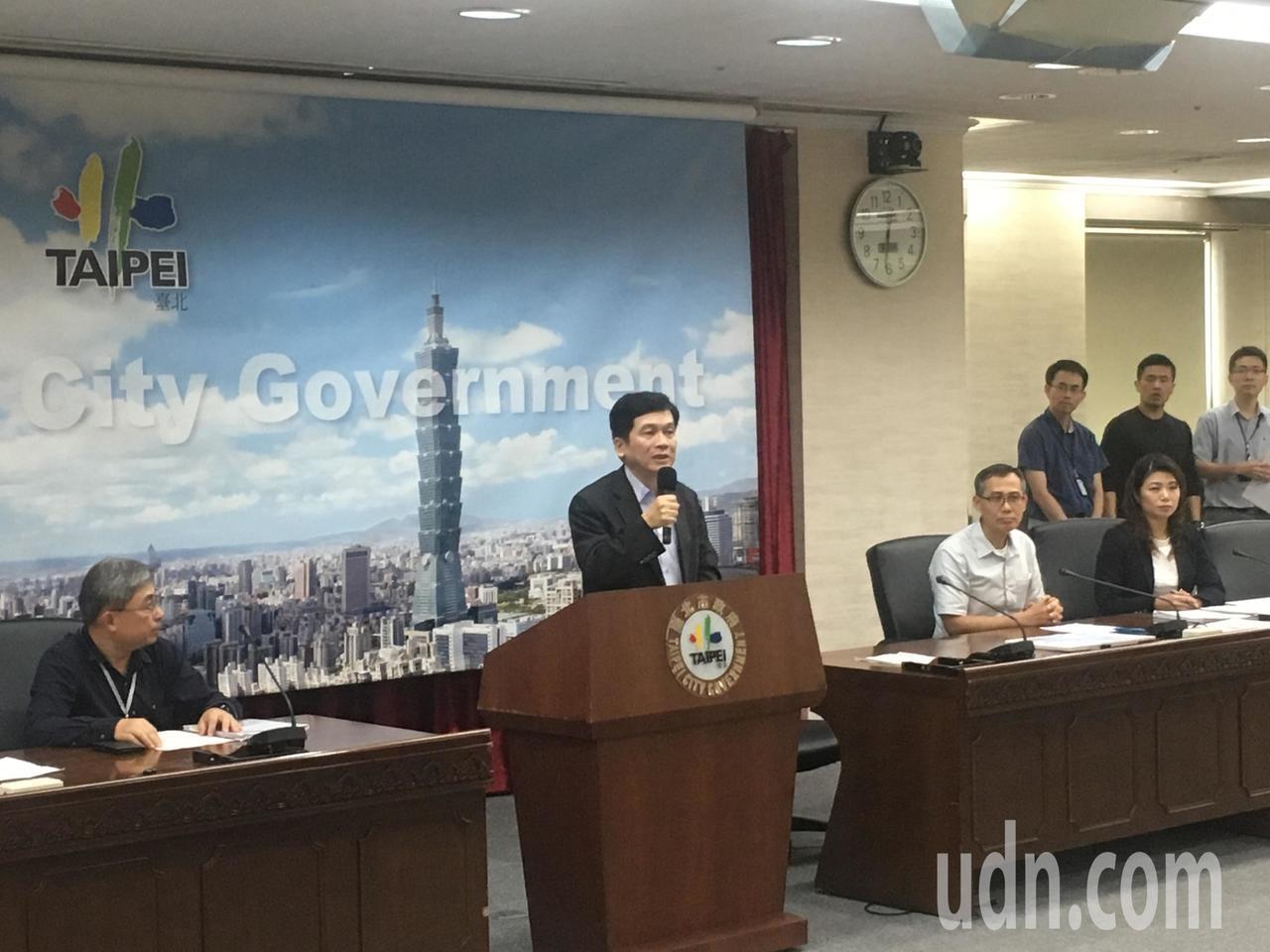 台北市政府今天中午舉行記者會,對外說明大巨蛋爭議。記者張世杰/攝影