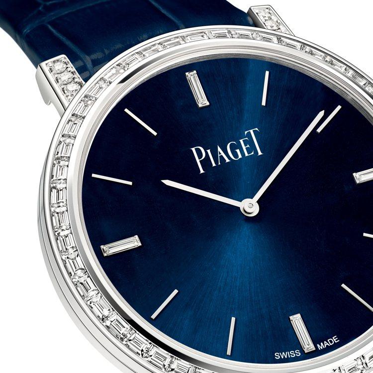 太陽放射紋藍色表盤搭配著不同切割的美鑽和特色時標,低調奢華。圖/伯爵提供