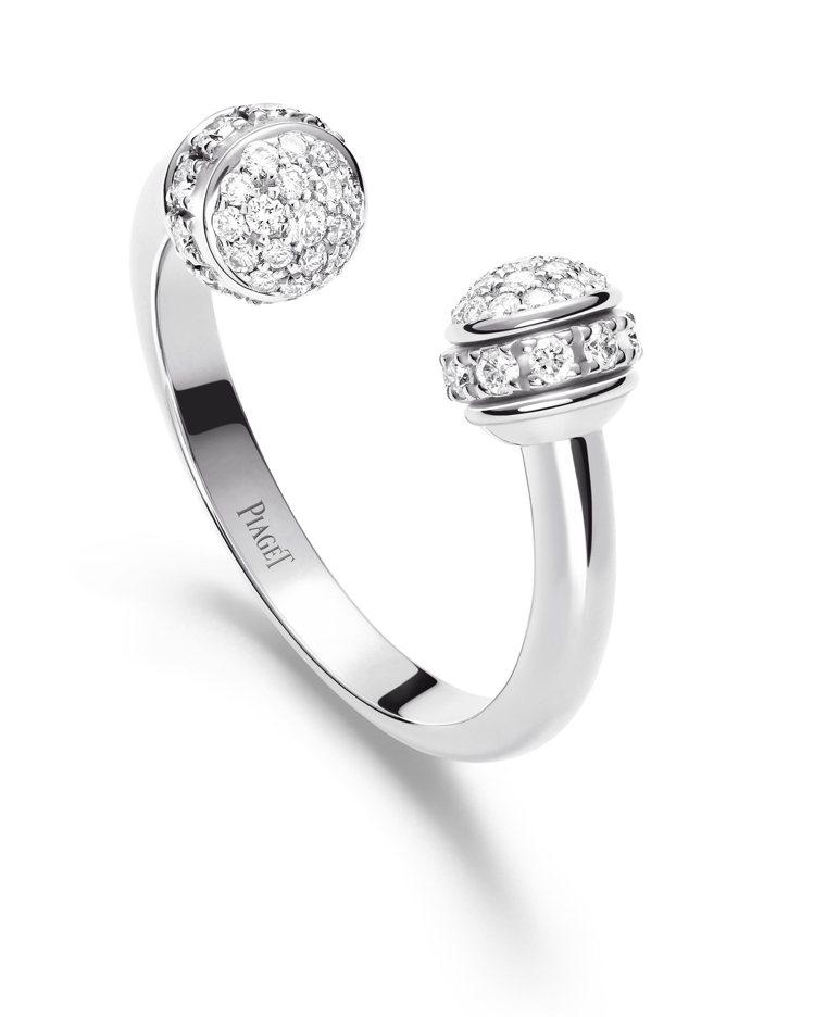 孔曉振配戴的伯爵Possession 系列18K白金鑲鑽戒指,14萬元。圖/伯爵...
