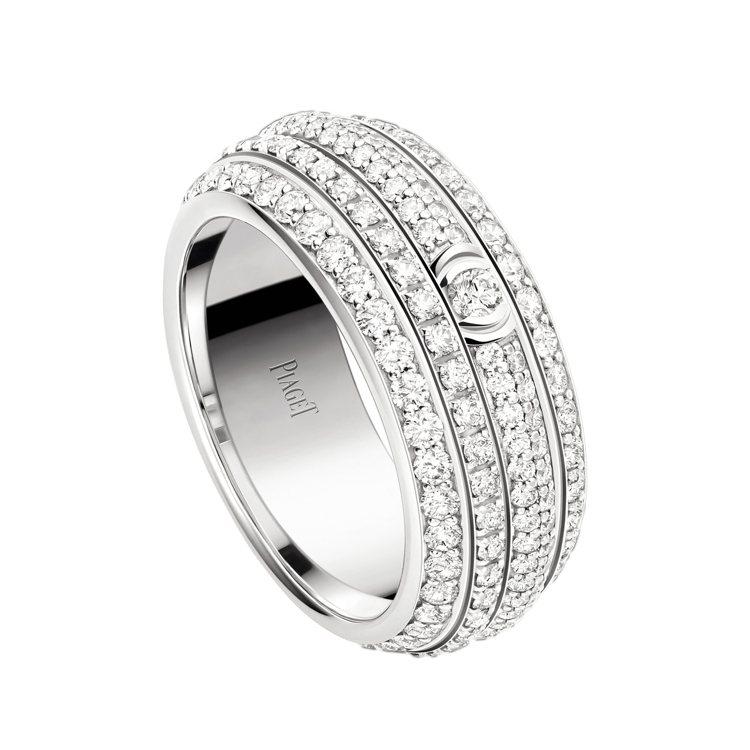 孔曉振配戴的伯爵Possession 系列18K白金鑲鑽戒指,57萬5,000元...