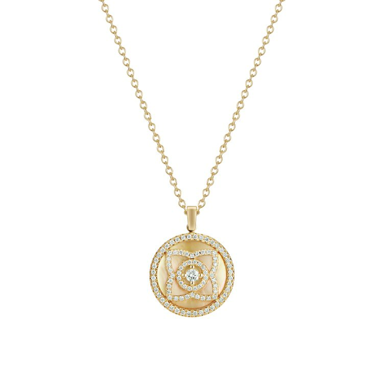 De Beers Enchanted Lotus系列鑽石鍊墜,18K黃金搭配珍珠...