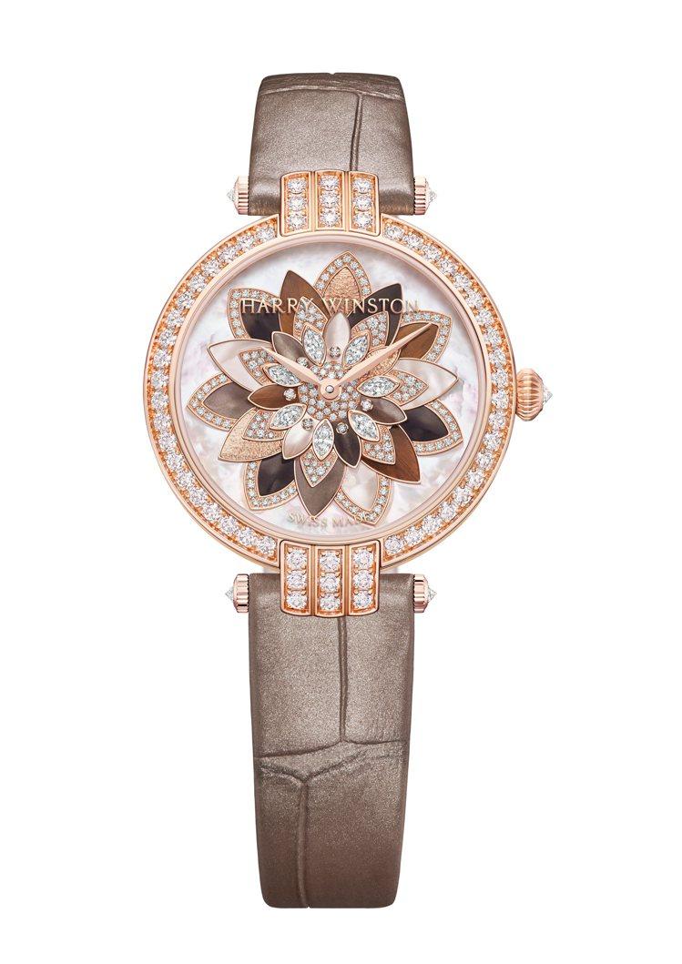 海瑞溫斯頓卓時系列Lotus自動上鍊腕表,18K玫瑰金表殼,約161萬2,000...