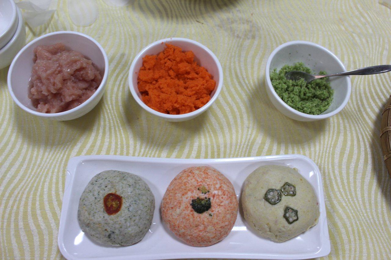 以花椰菜、雞胸肉、紅蘿蔔製成的寵物鮮食。記者張雅婷/攝影