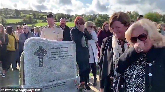 愛爾蘭老翁謝伊·布來德利12日在自己的喪禮上,最後一次逗自己的親朋好友開心。圖片...