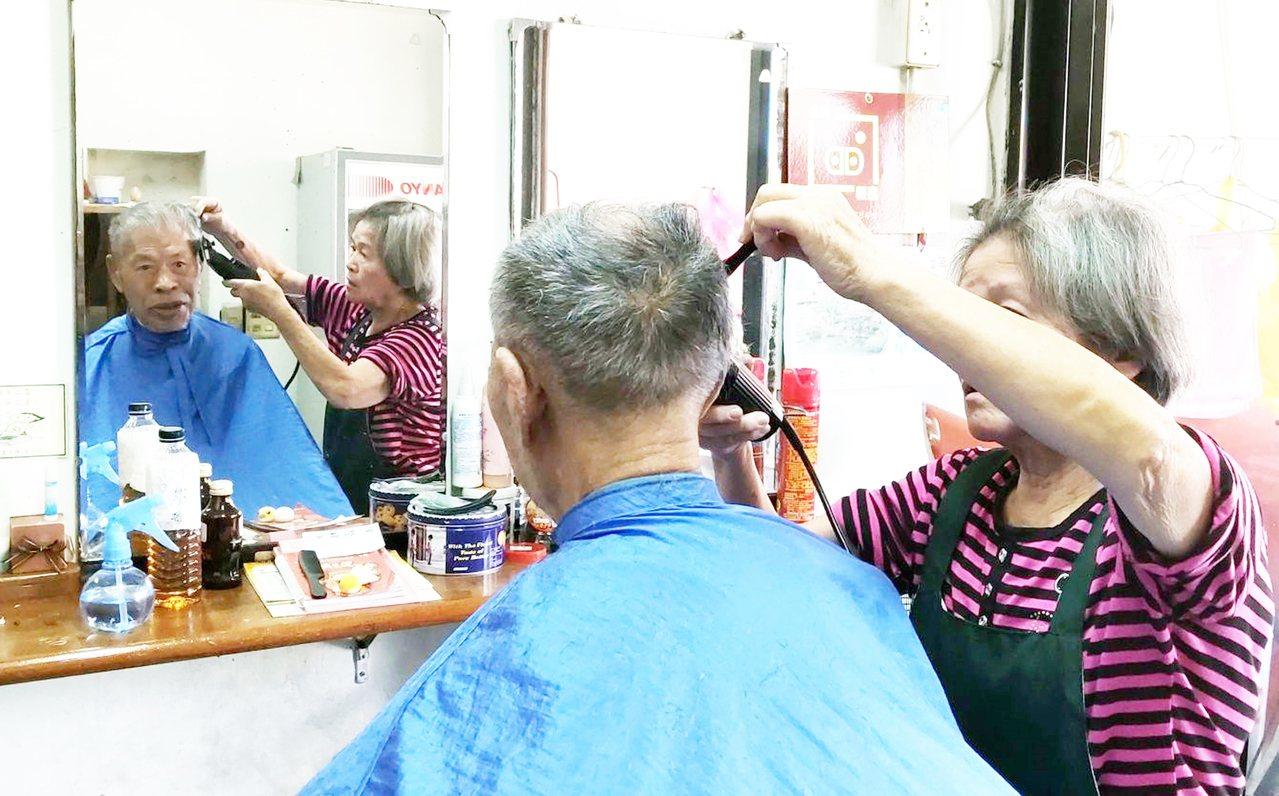 台東市90歲吳老先生過去53年來,每個月一定要給梅子剪髮一次。記者羅紹平/攝影
