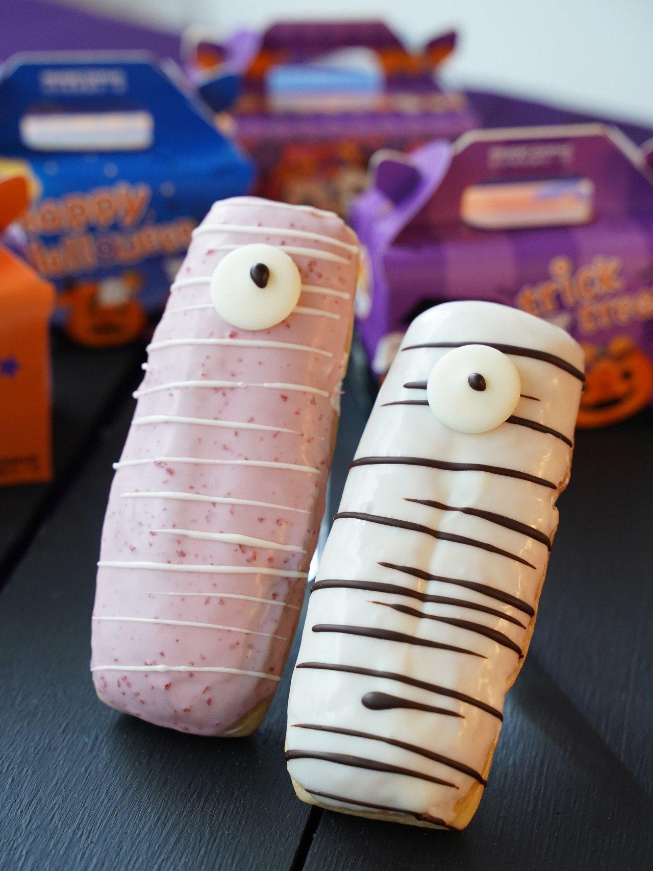 草莓木乃伊(左)、優格木乃伊(右)售價50元。圖/Mister Donut提供