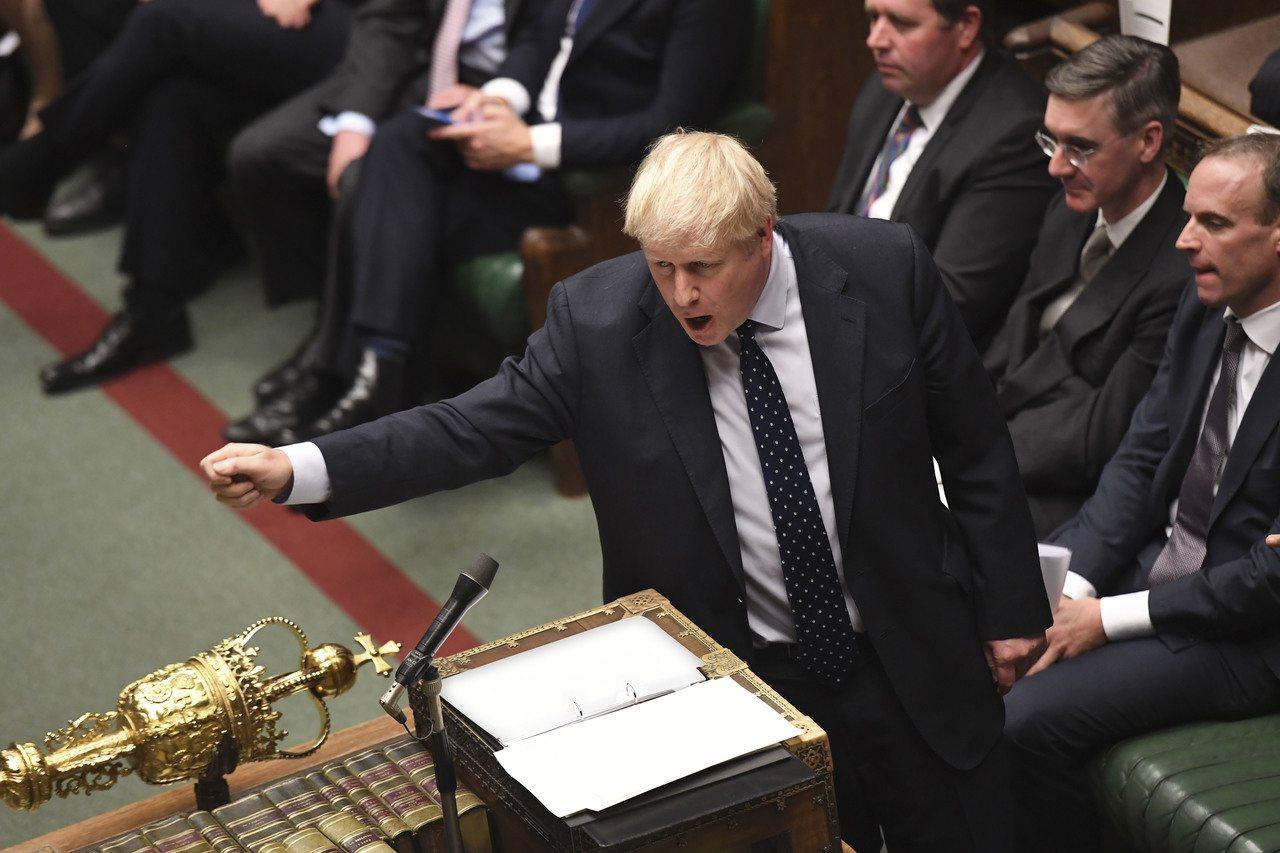 10月14日,英國首相強生在國會下院發言。 新華社