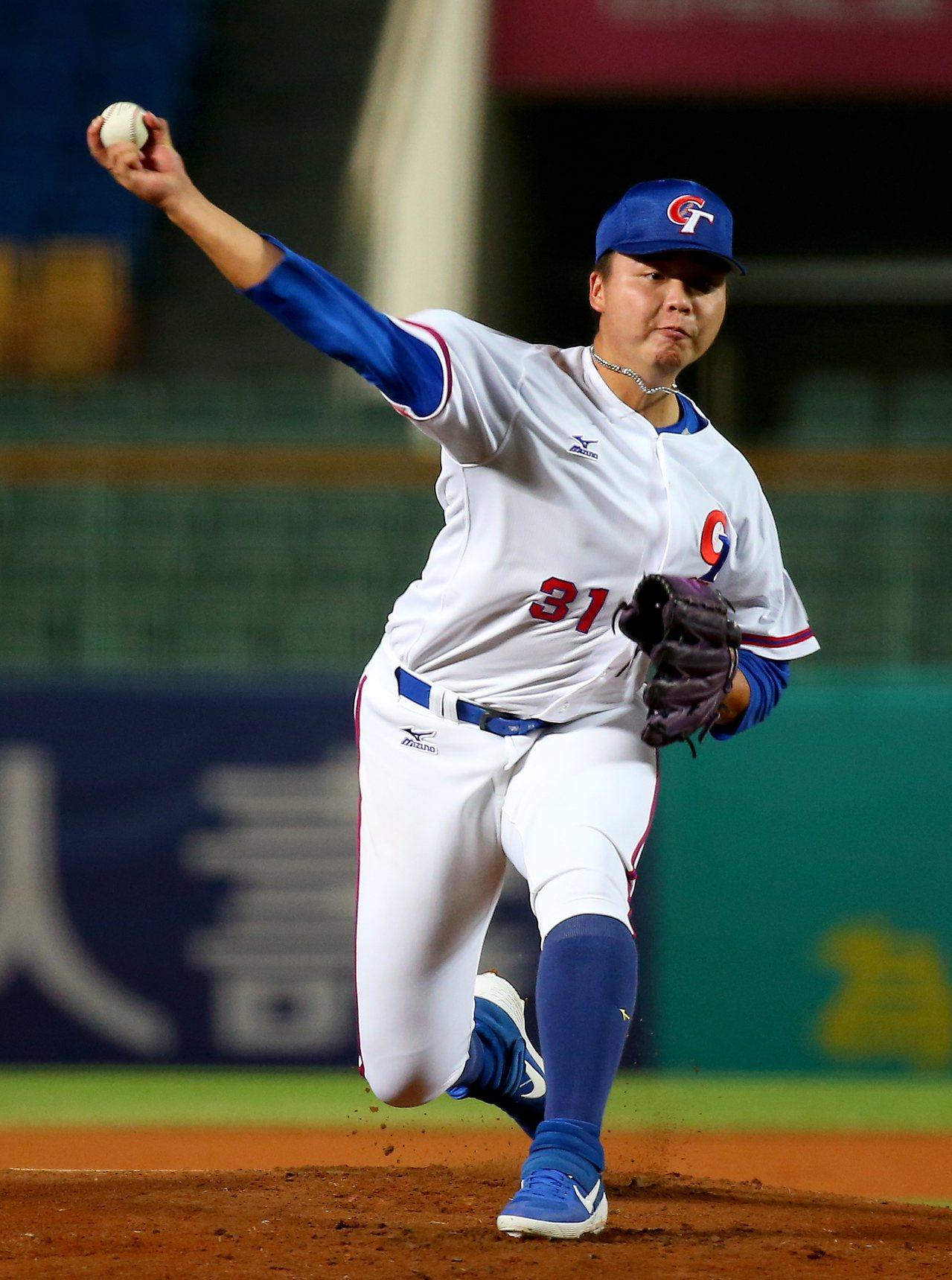亞洲棒球錦標賽,中華隊先發投手鄧愷威,對日本隊投三局失一分。記者余承翰/攝影