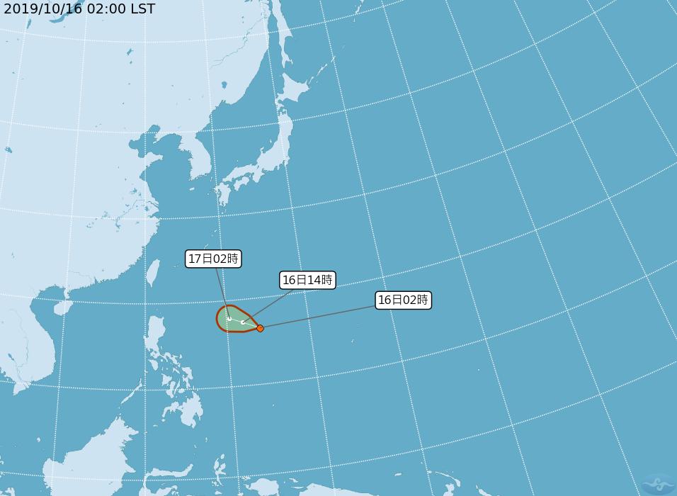 熱帶性低氣壓TD26最快可能今天成為颱風。圖/中央氣象局提供