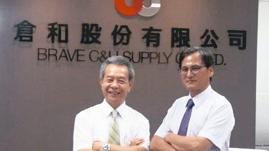 倉和公司董事長蔡富得(左)與總經理陳柑富合影。 報系資料照