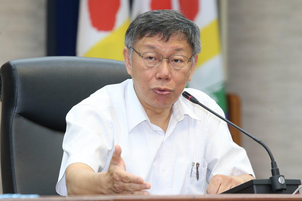台北市長柯文哲。聯合報系記者曾學仁/攝影