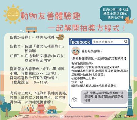 圖為「臺北毛孩趣旅行」粉專中的「動物友善體驗趣」抽獎辦法。 有故事/提供
