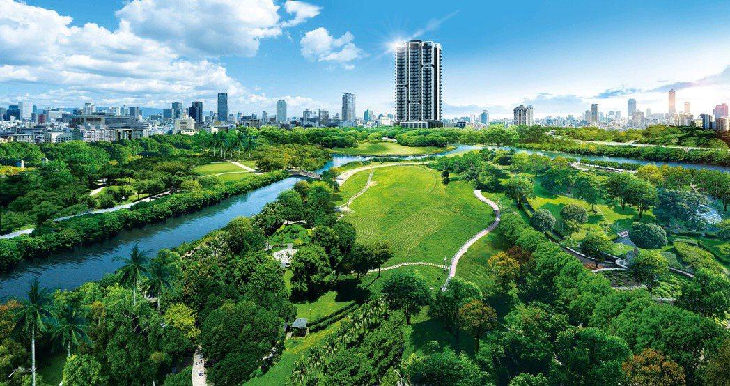 「樹禾苑」位於美術館生活圈,面對美術館濕地生態公園。 圖片提供/潤隆建設