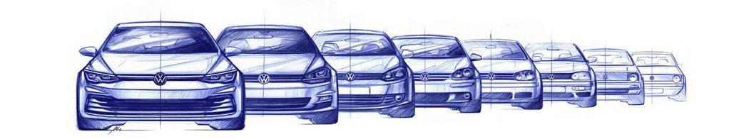 Volkswagen前陣子釋出Golf MK1至Mk8的手繪圖。 摘自Volks...