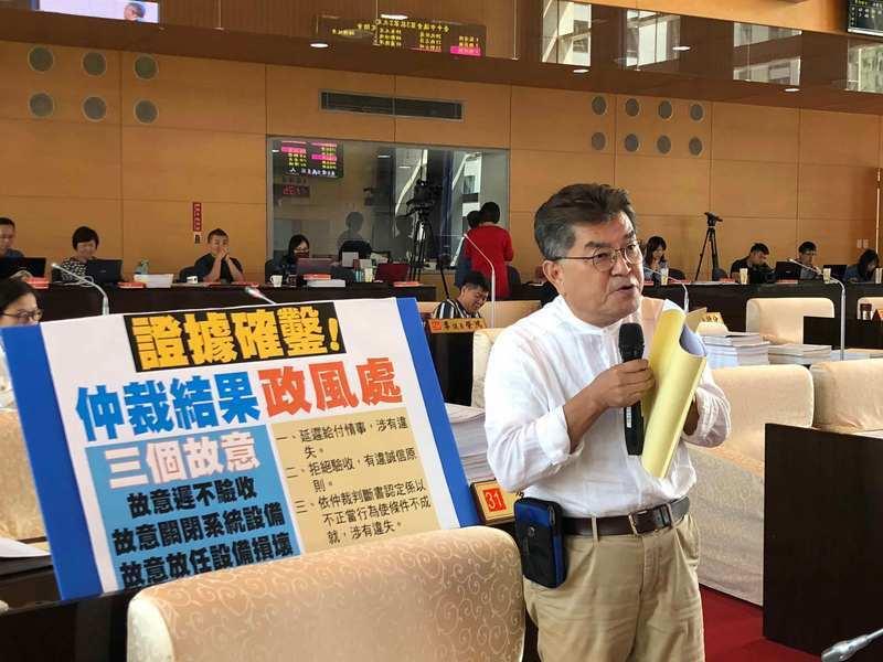 台中市交通局提出BRT藍線機電標弊端涉及的決策疏失與賠償責任專案報告,藍營議員大...