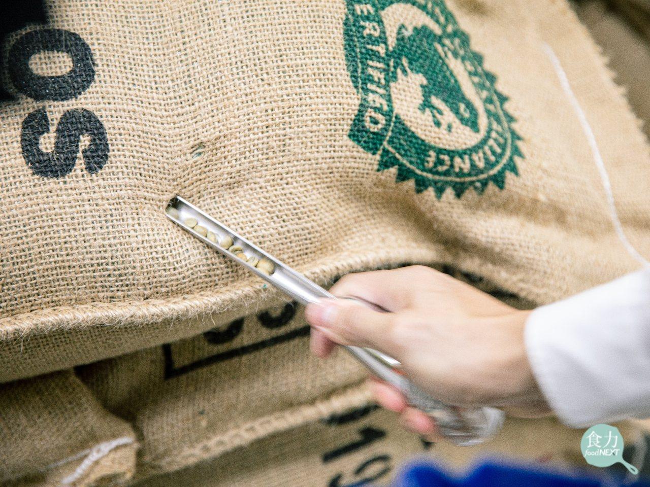 路易莎的烘豆廠在生豆進場後,首先會從麻布袋中隨機抽出生豆,目測其外觀、瑕疵情況等...