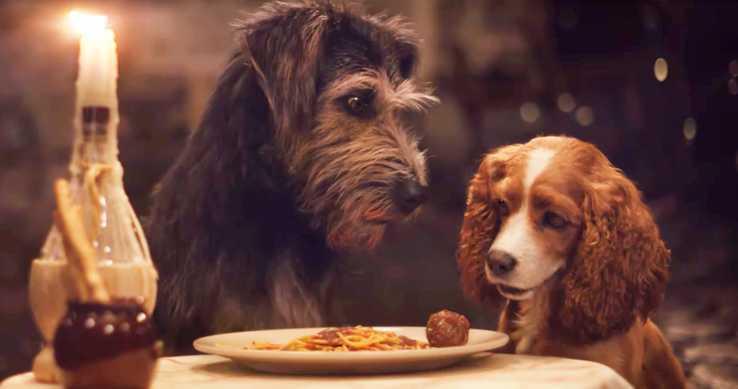 「小姐與流氓」真狗版重現動畫原版中經典的一幕。圖/摘自movieweb