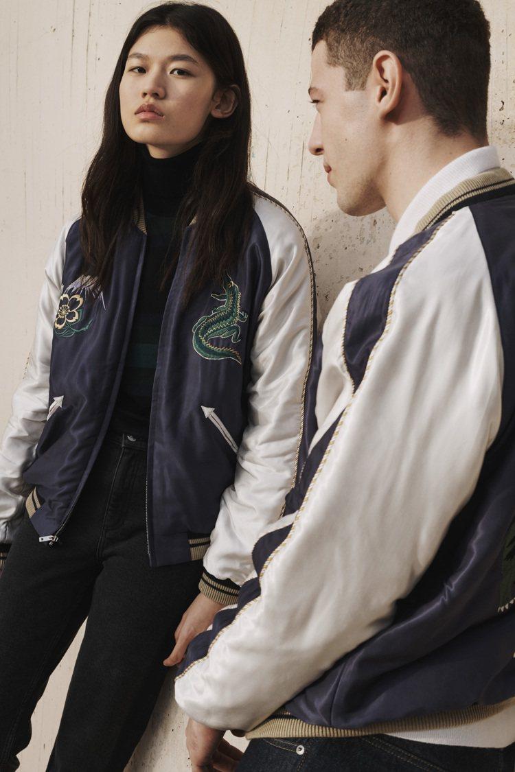 LACOSTE X TAILOR TOYO聯名刺繡橫須賀外套包括男、女裝。圖/L...