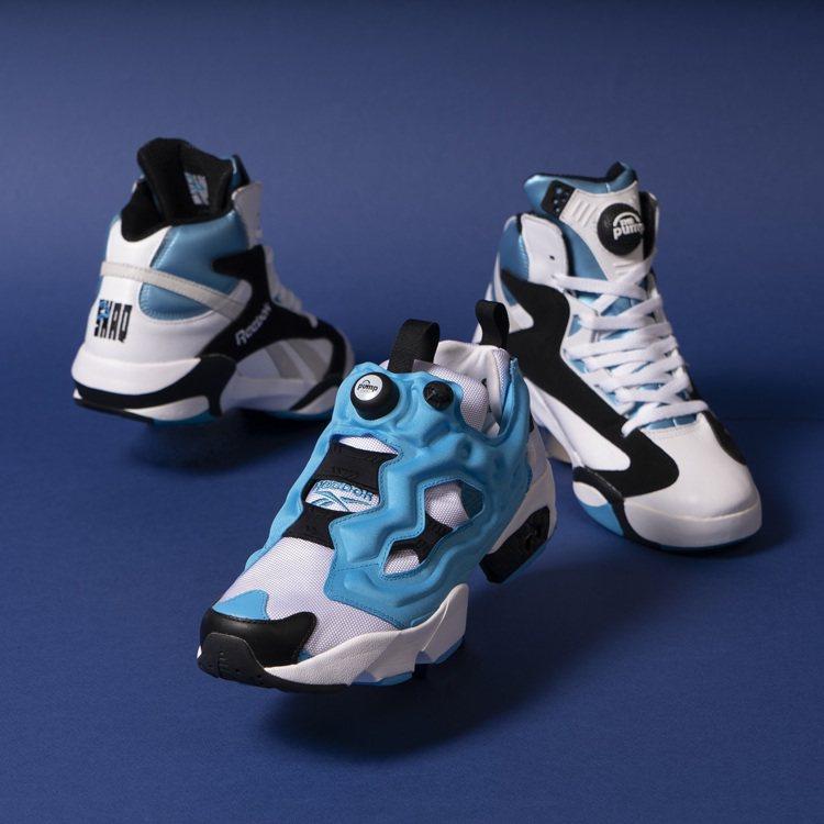 藍黑配色搭配Instapump Fury鞋身與功能設計。圖/Reebok提供