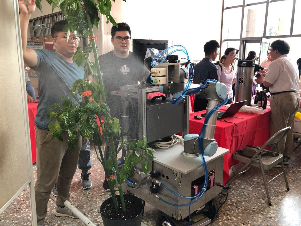 嘉義大學研發出甜椒栽培植保機器人,偵測到病蟲害就自動噴藥。記者李承穎/攝影