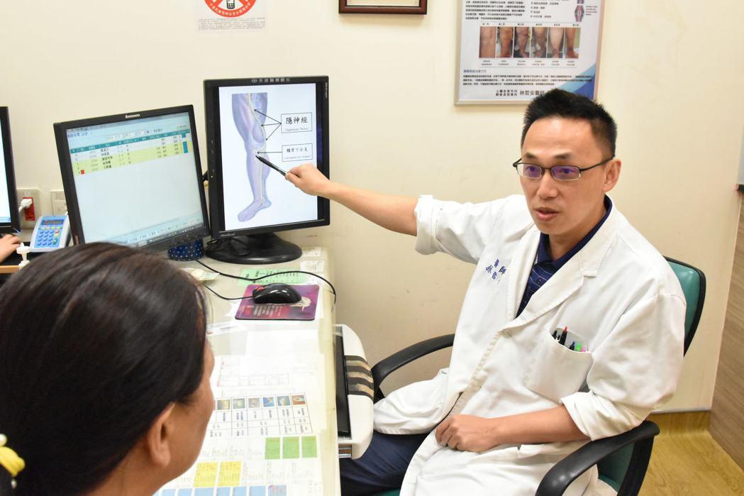 中壢天晟醫院靜脈曲張中心林哲安醫師表示,靜脈曲張血管且圍繞膝蓋,會進而導致慢性膝...