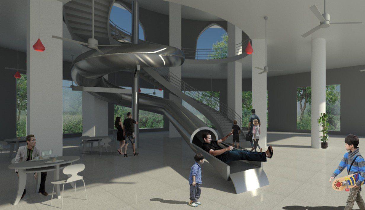 南寮旅遊服務中心整修工程今天開工,室內將設4座大小型滑梯,包括室內2樓高的螺旋滑...