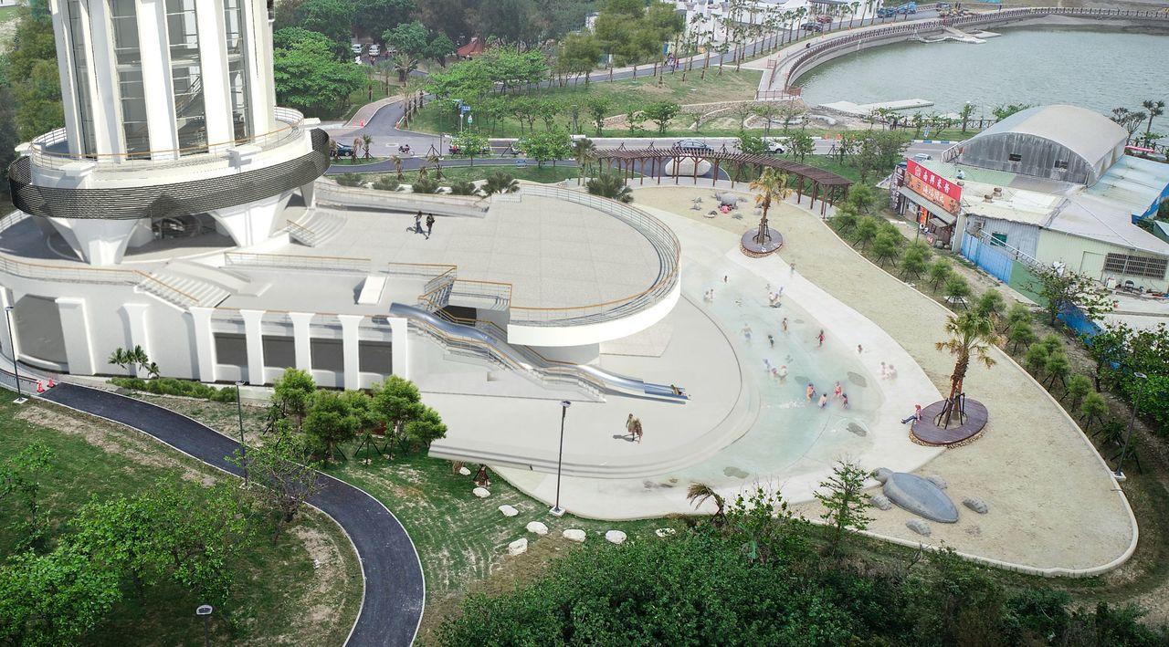 南寮旅遊服務中心整修工程今天開工,2樓露台將變身郵輪甲板般的空中遊樂場,有2樓高...