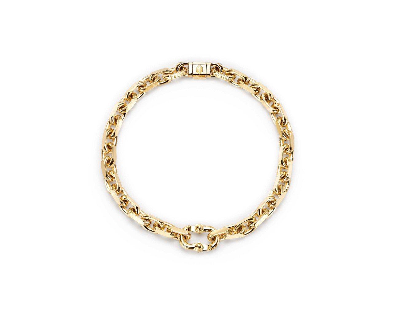 Tiffany 1837 Makers 18K金窄版手鍊,約24萬元。圖/Tif...