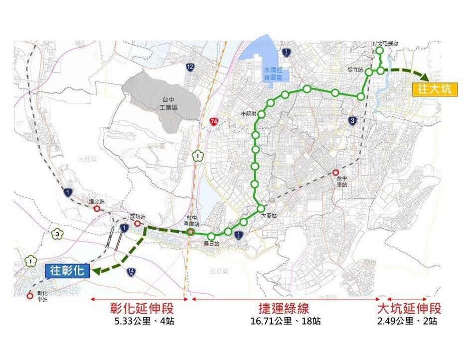 台中捷運綠線將延伸到彰化、大坑。圖/台中市交通局提供