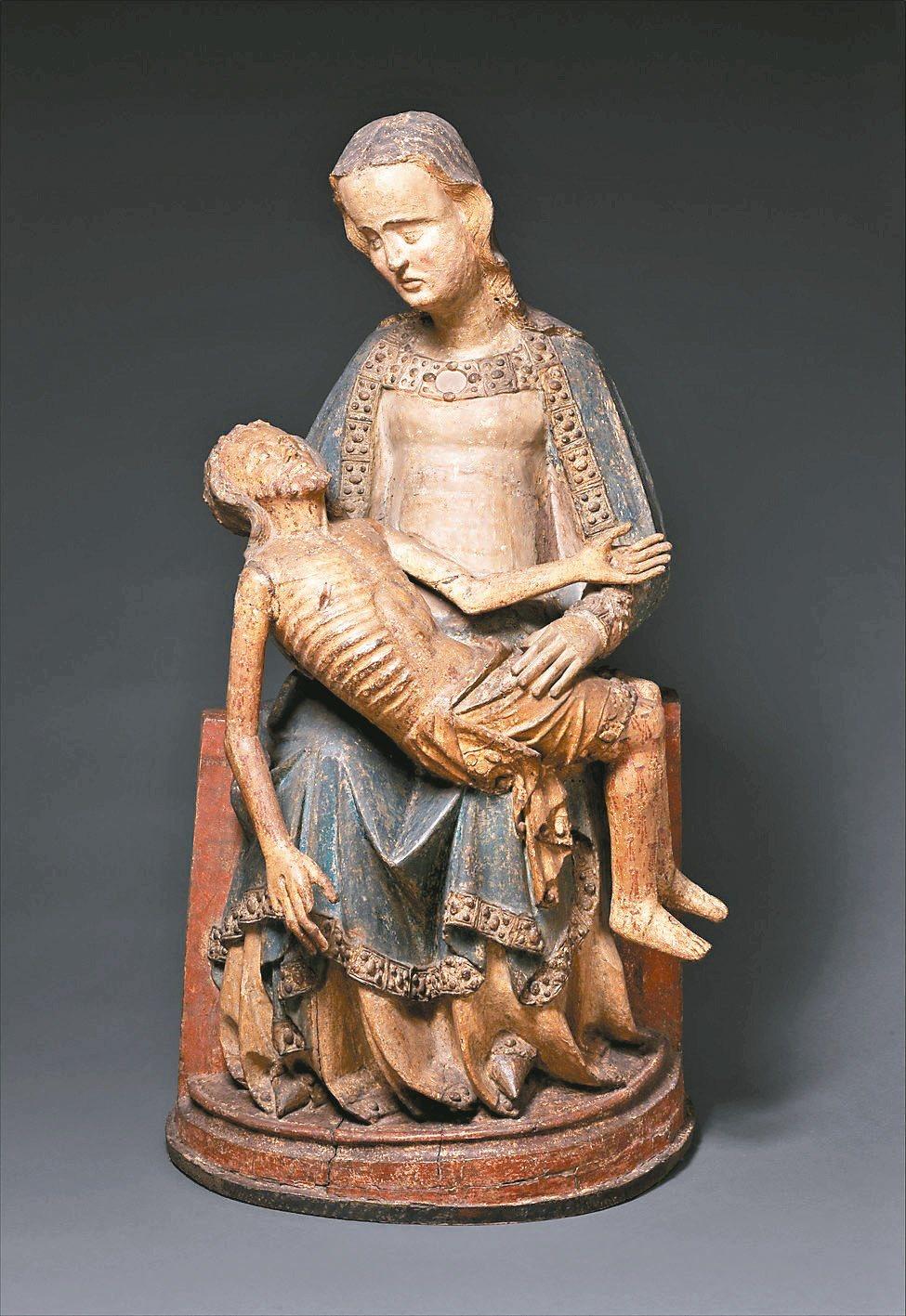 圖1、圖2:傳統的《聖殤》,母親的面容姿態是在極度悲哀痛苦的情緒中。(圖1:c....