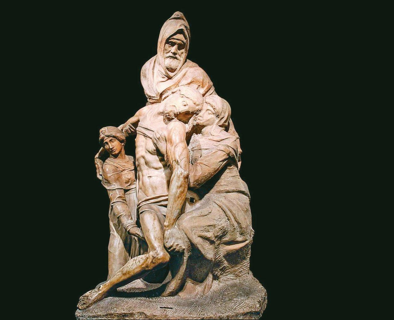 圖5:米開朗基羅晚年,在《聖殤》裡保留大膽的刀斧鑿痕,讓聖母的面容飽含內在悲憫的...