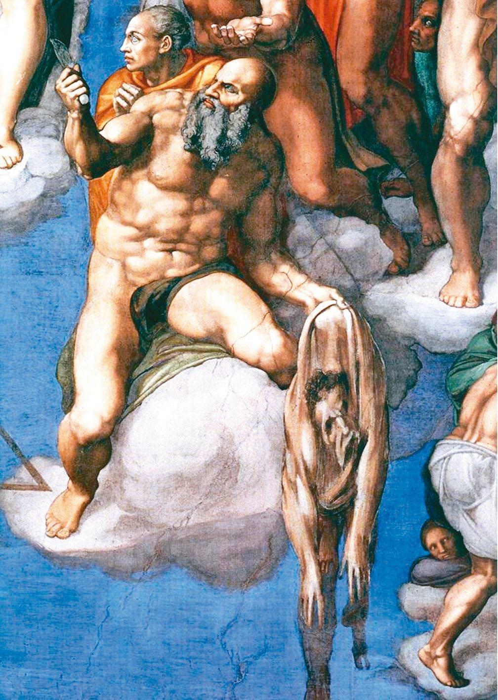 圖4:米開朗基羅在《最後審判》裡,把自己畫成殉道者剩下的一張人皮。(1536-1...