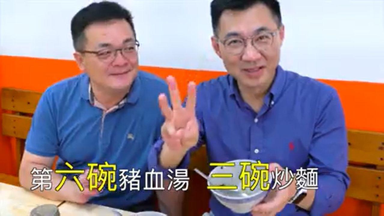 國民黨立法委員江啟臣(右)推出「啟臣出任務」,但不是職場體驗,而是挑戰大胃王吃美...