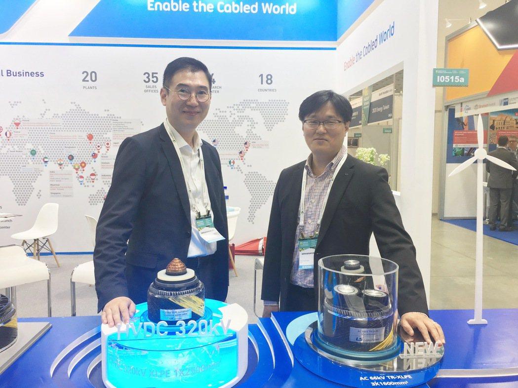 樂星電纜LS海底電纜銷售部部長黃正旭(右)、LS台灣分公司代表徐勇俊於台灣智慧能...