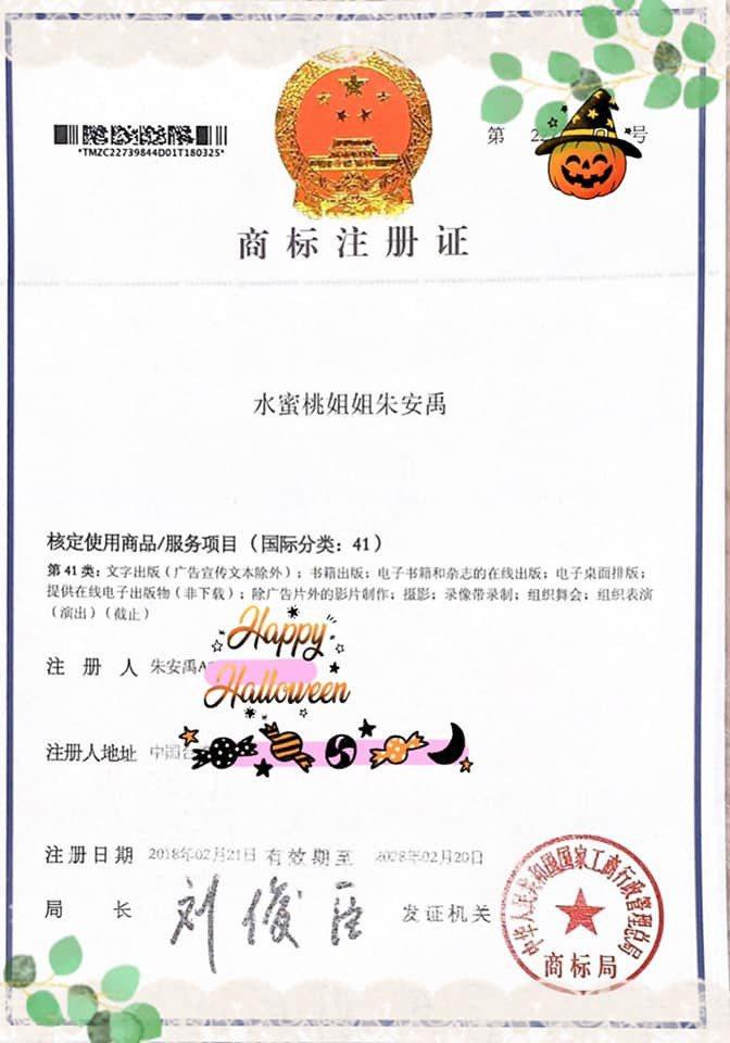 朱安禹取得「水蜜桃姐姐」國際商標使用權。 圖/擷自臉書